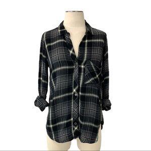 Bella Dahl- Black Plaid Button Down Shirt XS